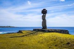 Статуи Moais, riku te ko ahu, остров пасхи Стоковые Фотографии RF