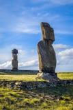 Статуи Moais, ure vai ahu, остров пасхи Стоковые Фотографии RF