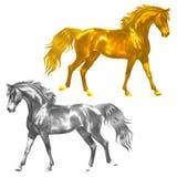 статуэтка золотистых лошадей серебряная Стоковые Изображения