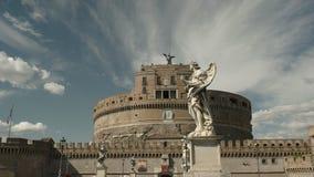 Статуя ангела на мосте около santangelo castel, Рима видеоматериал
