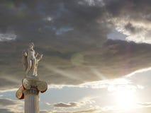 Статуя Афин Греции, Аполлона, бог поэзии и музыка Стоковое Изображение RF