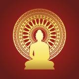 Статуя Будды золота и колесо Dharmachakra знака dhamma на краснокоричневом векторе предпосылки конструируют бесплатная иллюстрация