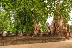 Статуя Будды в Wat Mahathat, загубленном виске в Ayuthaya, тайском Стоковое Изображение