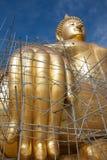 Статуя Будды золота под конструкцией в тайском виске с ясным небом WAT MUANG, ремень Ang, ТАИЛАНД Стоковое Изображение