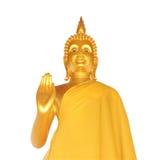 статуя Будды золотистая изолированная Стоковые Изображения