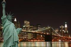 статуя вольности brooklyn моста Стоковые Фото