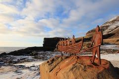 Статуя в глуши Фарерских островов Стоковые Изображения RF