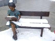 Статуя девушки читая книгу пока сидящ на деревянной скамье внутри Стоковые Фотографии RF
