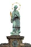 Статуя Джона Nepomuk (или Джона Nepomucene) на Карловом мосте, Праге Стоковые Изображения RF