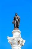 Статуя Дон Педра IV на квадрате Дон Педра также вызвала Rossi Стоковые Изображения RF