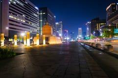 Статуя зоны короля Sejong на nighttime в Сеуле Стоковые Фото