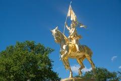 Статуя золота Жанны д'Арк Стоковое фото RF