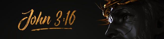 Статуя Иисуса Христоса знамени 3:16 Джона с кроной золота терниев 3 иллюстрация штока