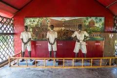 Статуя индийского политического заключенного в клетчатой тюрьме стоковая фотография