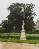 Статуя и деревья в саде Тюильри, в Париже, Франция стоковое фото