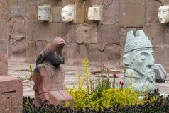 Статуя идола от Tiwanaku в Ла Paz, Боливии Стоковые Изображения
