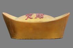 Статуя китайского золотого ингота Стоковые Фото
