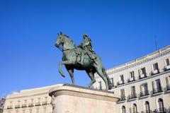 статуя короля madrid charles III Стоковые Фото