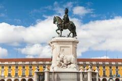 Статуя короля Хосе на квадрате коммерции - Praca делает commercio в Lisb Стоковое Изображение RF