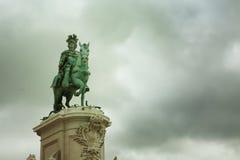Статуя короля Хосе Я в квадрате коммерции Стоковое Фото