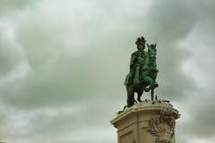 Статуя короля Хосе Я в квадрате коммерции Стоковая Фотография RF