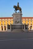 Статуя короля Хосе Я в Лиссабоне на восходе солнца Стоковые Изображения RF