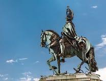 Статуя короля Jose Я на Praca делает Comercio в Лиссабоне Стоковое Изображение