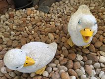 Статуя кукол утки на камне на саде Стоковое Изображение RF