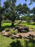 Статуя марафонца в провинциальном городе холма Техаса стоковые изображения rf