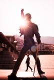 Статуя Меркурия Freddie на портовом районе озера Женев в Монтрё, Стоковое Изображение RF