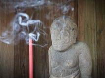 Статуя на виске Cetho, Java, Индонезии Стоковая Фотография