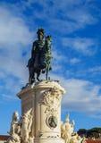 Статуя на квадрате коммерции в Лиссабоне Стоковые Фотографии RF