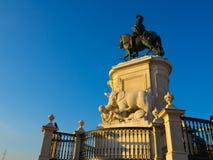 Статуя на коммерчески квадратном Лиссабоне, Португалии Стоковые Фото