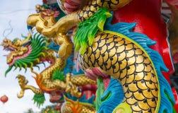 Статуя на крыше святыни, статуя Dargon дракона на подбородке Стоковое Изображение