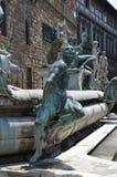 Статуя на фонтане Нептуна на della Signoria аркады в Флоренсе Стоковые Фотографии RF