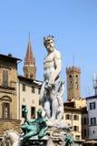 Статуя Нептуна, della Signoria аркады, Флоренса (Италия) Стоковые Изображения RF