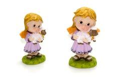 статуя овечки девушки Стоковая Фотография