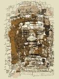 Статуя от виска Bayon в Angkor Стоковая Фотография
