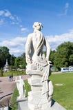 Статуя от заднего в каскаде дракона парка Peterhof в лете Стоковое фото RF