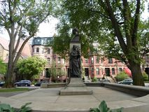 Статуя Патрика Collins, мол бульвара государства, Бостон, Массачусетс, США стоковое фото rf
