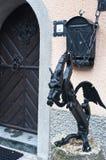 Статуя дракона металла, Словения стоковые изображения rf
