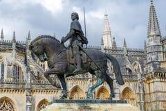 Статуя рыцаря Nuno Alvares Pereira Batalha Португалии Стоковая Фотография
