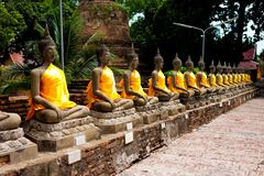статуя рядка Будды Стоковое фото RF