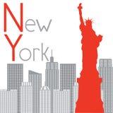 Статуя свободы Нью-Йорка на предпосылке Стоковые Фотографии RF