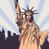 Статуя свободы с вектором городского пейзажа Стоковая Фотография
