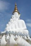 Статуя 5 сидя Buddhas на голубом небе стоковые изображения rf