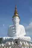 Статуя 5 сидя Buddhas на голубом небе стоковая фотография rf