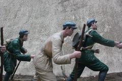 Статуя солдата взбираясь с ручкой в ¼ Œshenzhen Parkï Красной Армии, фарфоре Стоковая Фотография