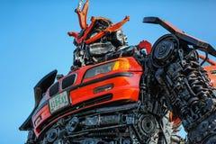 Статуя трансформатора внутри представить человека к сделанный сталью стоковая фотография rf