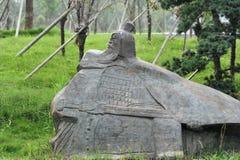 Статуя утюга Qiji-бросания генерала Xin Стоковые Фото